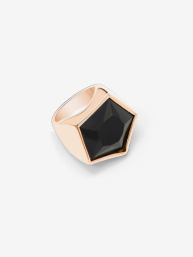 Titanium 316L Stainless Steel Obsidian Geometric Vintage Band Ring with e-coated waterproof
