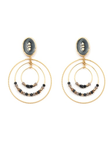 3-ring manual bead plated 14K Gold Stainless Steel Ear Ring