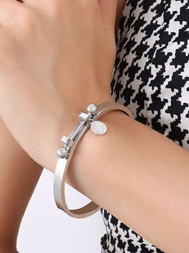 Z111 steel bracelet 17cm Titanium Steel Geometric Hip Hop Band Bangle