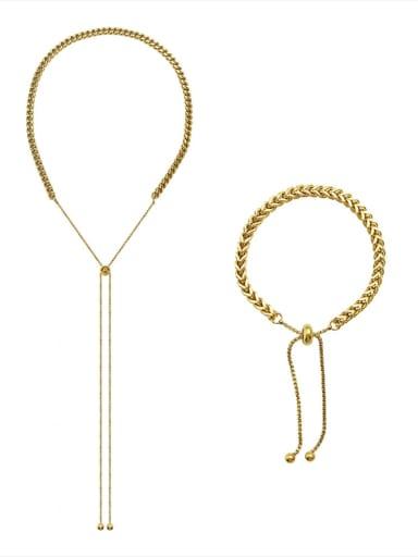 Titanium Steel Hip Hop Tassel  Braclete and Necklace Set