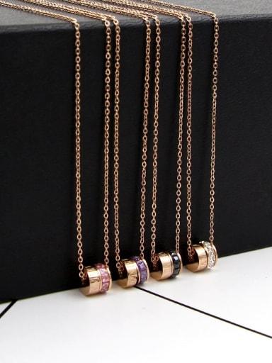 Titanium Cubic Zirconia Multi Color Classic Number Necklace