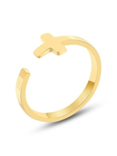 A277 gold ring Titanium Steel Cross Minimalist Band Ring