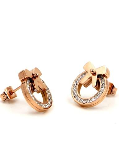 Titanium Rhinestone Bowknot Dainty Stud Earring