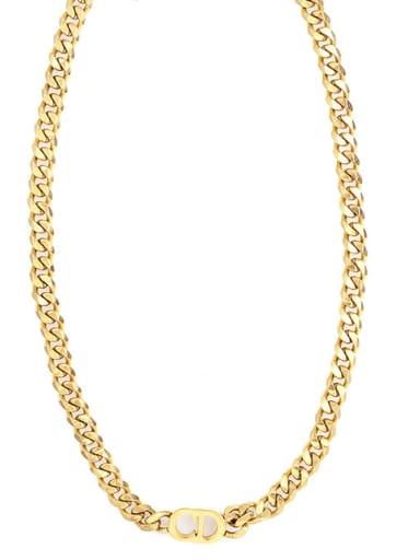 Gold CD Pendant Clavicle Necklace Cuban Necklace