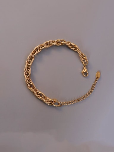 E228  twist Chain Gold Bracelet Titanium Steel Vintage Irregular  Braclete and Necklace Set