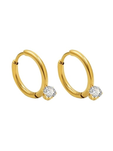 Gold Titanium 316L Stainless Steel Cubic Zirconia Geometric Minimalist Huggie Earring with e-coated waterproof