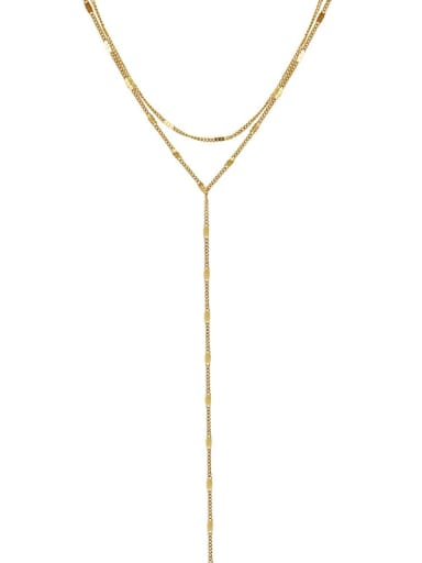 Titanium 316L Stainless Steel Tassel Minimalist Lariat Necklace with e-coated waterproof