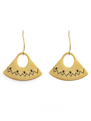 Bohemian fan shaped titanium steel earrings