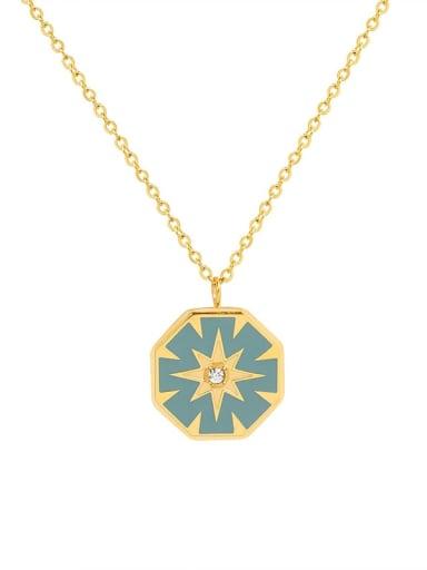 P093 gold  40 +5cm Titanium Steel Rhinestone Enamel Geometric Minimalist Necklace