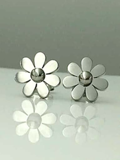 Titanium Flower Cute Stud Earring