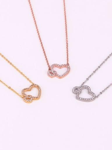 Titanium Rhinestone  Hollow Heart Minimalist Necklace