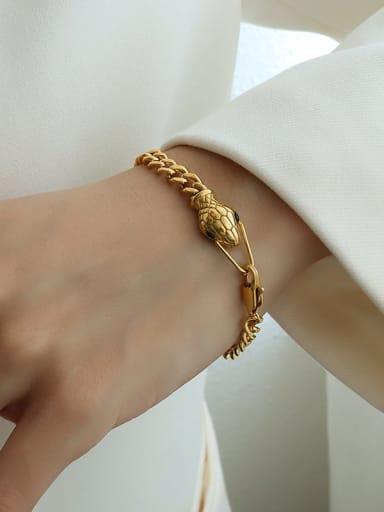 Gold snake head black zircon Titanium 316L Stainless Steel Rhinestone Snake Vintage Bracelet with e-coated waterproof