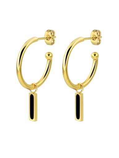 Titanium Steel Enamel Geometric Minimalist Huggie Earring