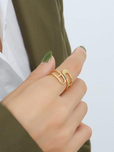 A279 gold ring Titanium Steel Geometric Minimalist Stackable Ring