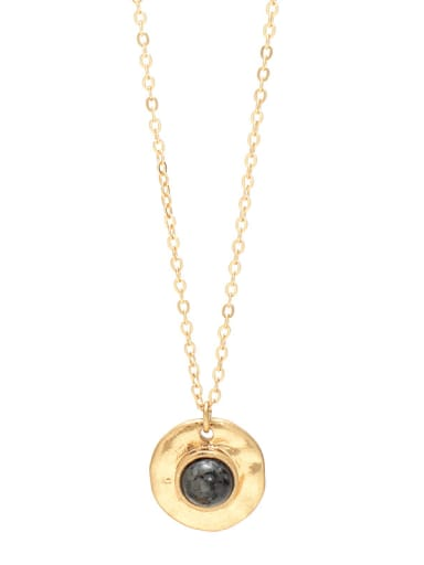 Black Alloy coin turquoise women's necklace European and American fashion clavicle chain