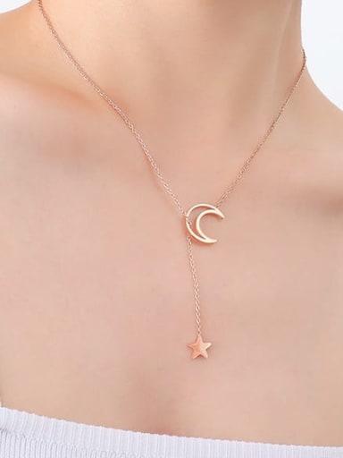 P315 rose Star Moon Necklace 48CM Titanium Steel Tassel Minimalist Lariat Necklace
