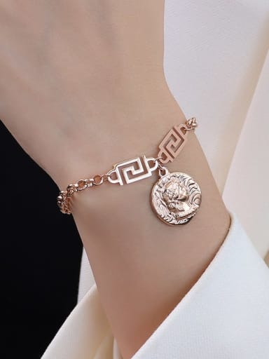 E091 rose gold bracelet 15 cm Titanium 316L Stainless Steel Vintage Irregular  Braclete and Necklace Set with e-coated waterproof