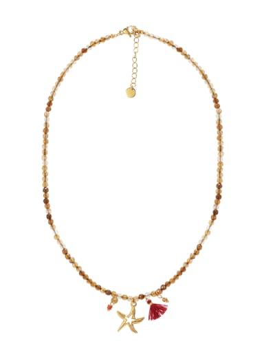 Multi Starfish Titanium Steel Necklace Handmade Beads Natural Stone Round Beads Summer Beach Holiday Clavicle Chain