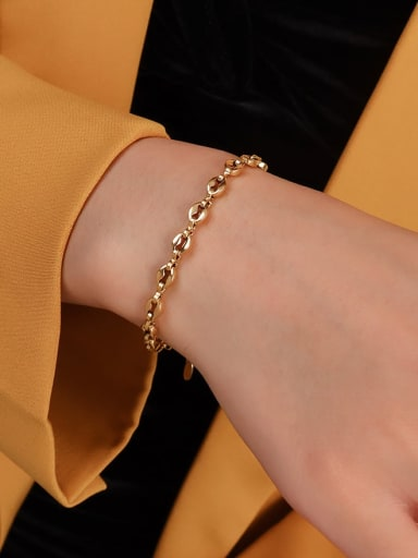 gold bracelet 15+ 5cm Titanium 316L Stainless Steel  Minimalist Irregular Braclete and Necklace Set with e-coated waterproof