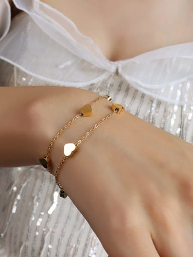 E054 gold Titanium 316L Stainless Steel Heart Minimalist Strand Bracelet with e-coated waterproof
