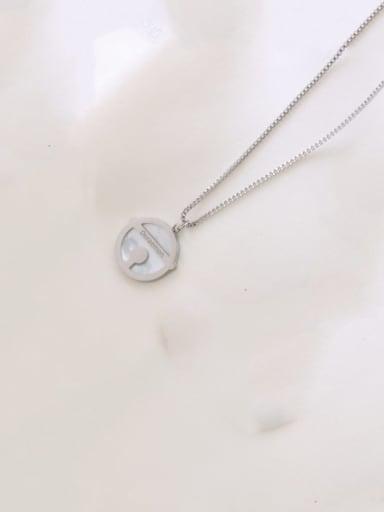 Steel color small 1.5cm Titanium Steel Shell Round Minimalist Necklace