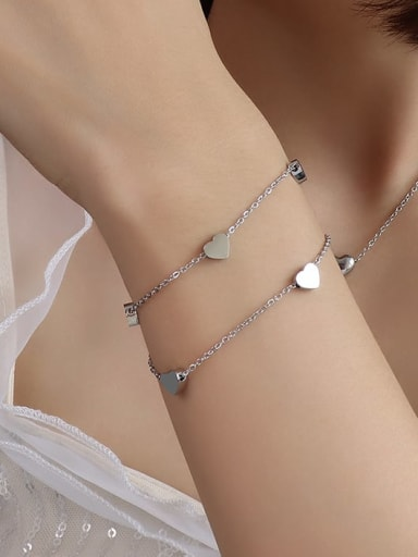 E054 steel Titanium 316L Stainless Steel Heart Minimalist Strand Bracelet with e-coated waterproof