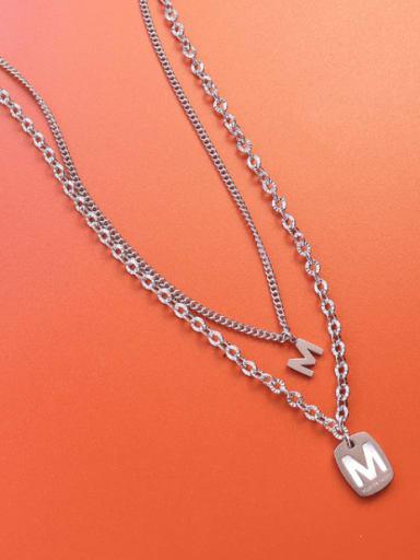 Steel double necklaces Titanium Steel Shell Letter Vintage Multi Strand Necklace