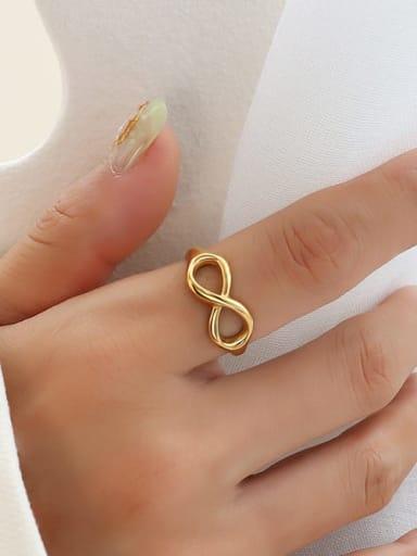 A219 gold (opening not adjustable) Titanium Steel Geometric Minimalist Band Ring