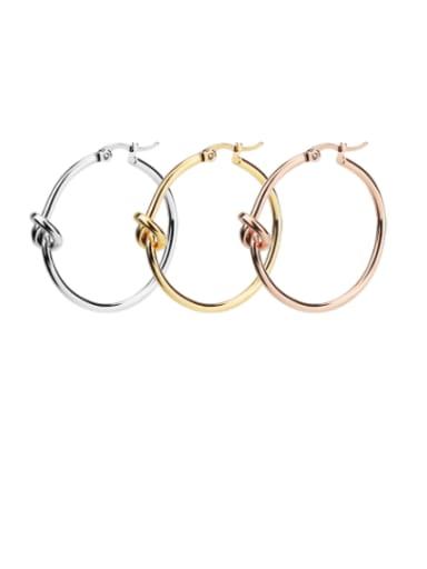 Titanium Steel Round Knot Minimalist Hoop Earring