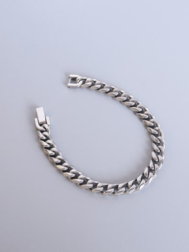 Steel color Titanium Steel Geometric Chain Vintage Link Bracelet