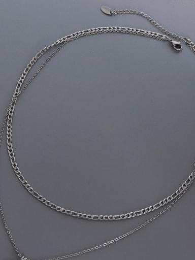 Black shell+ steel Titanium Steel Shell Geometric Vintage Multi Strand Necklace