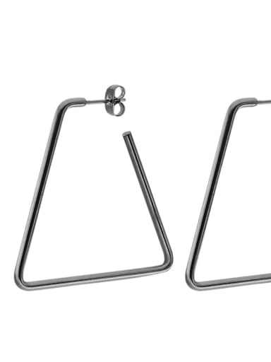 Trapezoidal black (40mm pair) Titanium Steel Geometric Minimalist Huggie Earring