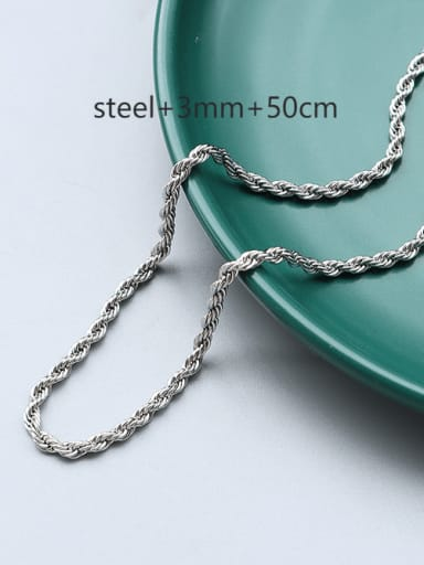 ? steel+3mm +50cm Titanium 316L Stainless Steel Minimalist  Chain with e-coated waterproof