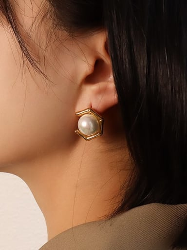 gold imitation pearl earrings Stainless steel Imitation Pearl  Vintage Geometric Earring and Necklace Set with e-coated waterproof