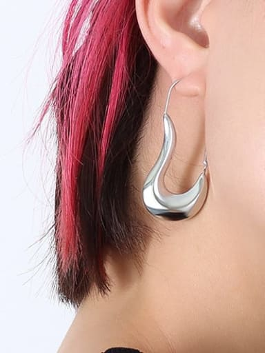 F498 Steel Earrings Titanium Steel Geometric Minimalist Hook Earring