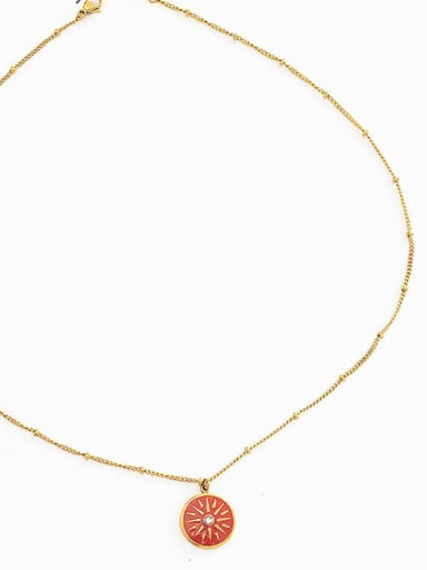 gold Simple and fashionable coin clavicle chain geometric dripping multi-layer ins wind stacking titanium steel necklace