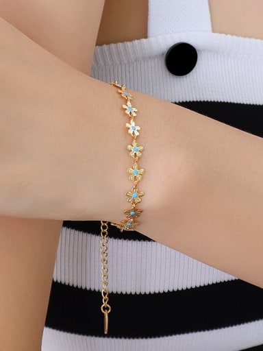 Single side oil dripping Bracelet E012 Titanium Steel Enamel Minimalist Flower  Bracelet and Necklace Set
