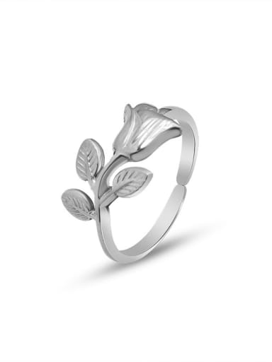 A146 steel color  ring Titanium 316L Stainless Steel Cute Flower  Ring and Necklace Set with e-coated waterproof