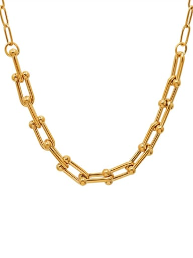 P998 gold necklace 47+5cm Titanium Steel Vintage Geometric Braclete and Necklace Set