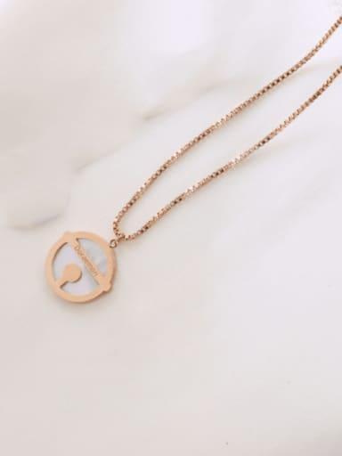 Rose Gold Large 2cm Titanium Steel Shell Round Minimalist Necklace
