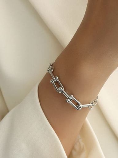 E226 U-shaped steel color Bracelet 15 cm Titanium Steel Vintage Geometric Braclete and Necklace Set