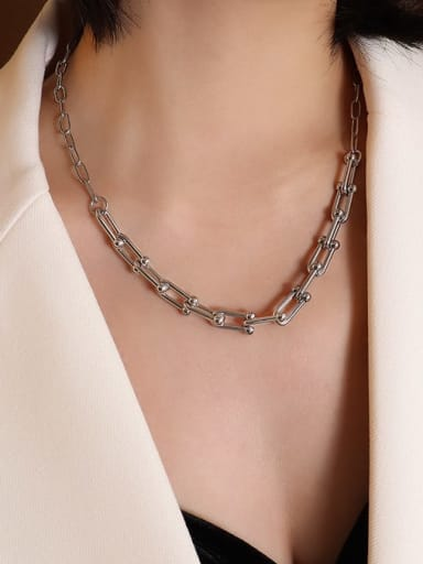 P998 Steel Necklace 47+5cm Titanium Steel Vintage Geometric Braclete and Necklace Set