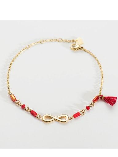 Red Stainless steel Bead Tassel Dainty Link Bracelet
