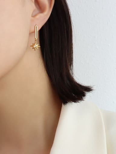 f488 Gold Earrings Titanium Steel Minimalist Irregular  Earring And Braclete Set