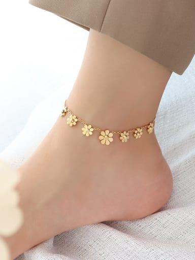 S037 gold Anklet Titanium Steel  Flower Vintage Anklet