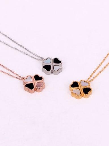 Titanium Shell Clover Dainty Necklace