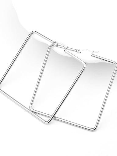 Square steel color Titanium Steel Geometric Minimalist Huggie Earring