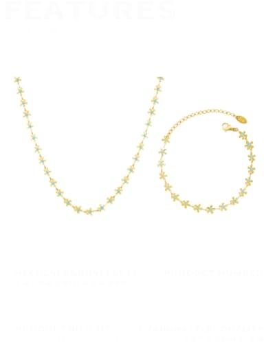Titanium Steel Enamel Minimalist Flower  Bracelet and Necklace Set