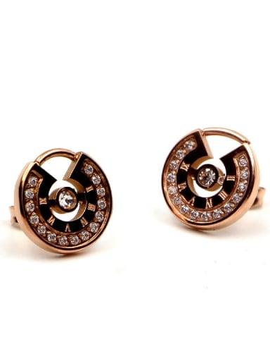 Titanium Cubic Zirconia Number Dainty Stud Earring