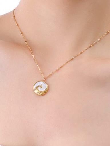 P035 gold necklace 40 +5cm Titanium Steel Shell Geometric Vintage Necklace